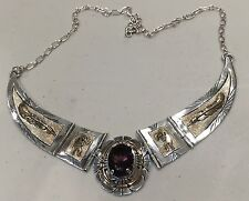 SIGNED NAVAJO RUSSELL SAM STERLING SILVER AMETHYST NECKLACE