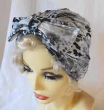 VINTAGE 1940s 50's STYLE GREY BLACK TURBAN CLOCHE HAT LANDGIRL WW2 ROCKABILLY
