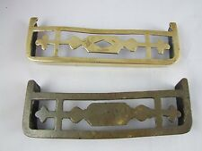 Two miniature fireplace fenders doll house salesman sample Victorian brass