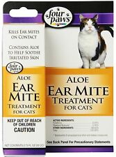 New Four Paws Ear Mite Remedy Aloe Treatment for Cats 0.75 oz Made in USA