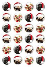 24 Christmas Pug Dog Cupcake Fairy Cake Topper Edible Paper cake decorations