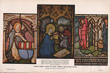 1947 DOUBLE-SIDED PRINT ~ STAINED GLASS FRENCH ~ PANELS SWISS GERMAN & ENGLISH