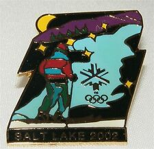 SALT LAKE CITY 2002 Olympic Collectible Logo Pin - Cross Country Skier by Lake