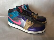 AIR JORDAN 1 MID GS METALLIC DARK GREY/METALLIC GOLD-COURT PURPLE UK 5.5 EU 38.5