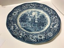 """Staffordshire Liberty Blue  China. 10"""" Dinner Plate """"independence Hall"""" Superb"""