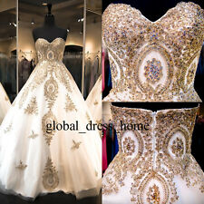 Stunning Gold Lace Wedding Quinceanera Prom Dresses Formal Evening Gown Custom