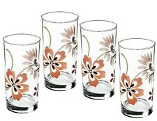 4 Corelle PRETTY PINK 16-oz Glass GLASSES Hi-Ball Weighted Floral TUMBLERS *New