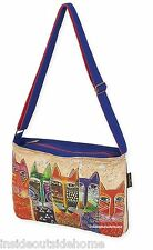 Laurel Burch Long Neck Cats Medium Large Crossbody Tote Bag New