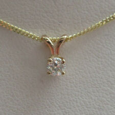 New .16ct Diamond Solitaire 9ct Yellow Gold Pendant Necklace & 18 inch Chain
