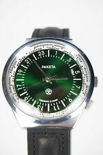 "Russian watch ""The Raketa"" 24 hour dial. Time zone design. Mineral glass. Green"