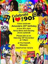 10 Personalised Yellow Fancy Dress Disco 1990s Birthday Party Invitations