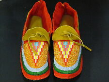 NATIVE AMERICAN FULL BEAD MOCCASINS 11 INCHES LONG TEMPTING DESIGN, COZY WARM
