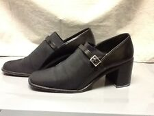 Nine West Leather & Fabric Heeled Loafer Shoe Silver Buckle 10M