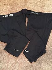Lot Of 2 NIKE PRO FIT DRY FITTED BASE LAYER MENS Medium PANTS - BLACK