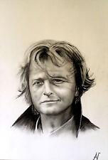 Rutger Hauer - ritratto portrait grafite e carboncino cm. 33 x 48