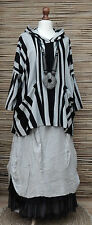LAGENLOOK OVERSIZE AMAZING QUIRKY STRIPED HOODED TUNIC*BLACK/GREY*SIZE 16-18-20