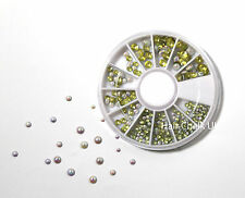3D Design Nail Art Wheel,Circle Pearl Studs, 3 Sizes, Rhinestones, Decoratations