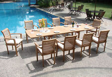 """Sam Grade-A Teak 9 pc Dining 117"""" Mas Rectangle Table 8 Stacking Arm Chair Set"""