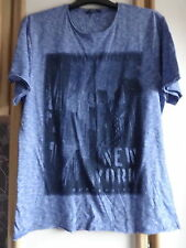 #B03 -Blue New York Print Short Sleeve T- Shirt From F & F - Size M - BNWOT