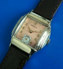 Exquisite 1960s Vintage Mans Benrus Hand Wind Stunning Salmon Dial Just Serviced