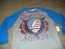 Grateful Dead Mens Rock N Roll Vintage Skull Gray Blue T-Shirt  Size Medium M