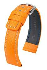 Hirsch Carbon 100 m water-resistant 22mm orange watch strap, L