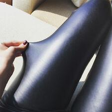 Stylish High Waisted Sexy Skinny Pants Black Faux Leather Stretch Slim Leggings