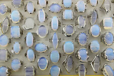 Wholesale 10pcs mixed style big opal natural stone silver p lady's rings L45