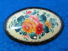Vintage Hand Painted Russian Brooch Pin Signed Floral Lacquer