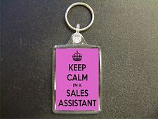 KEEP CALM I'M A SALES ASSISTANT PINK KEYRING GIFT BAG TAG BIRTHDAY GIFT