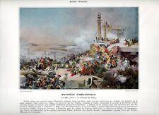 Stampa antica NAPOLEONE BONAPARTE 1800 BATTAGLIA di HELIOPOLIS 1890 Old print