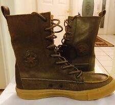Converse All Star Chuck Taylor Mens Leather Brown Mid High Gummy Bottoms Si