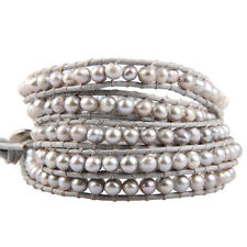 KELITCH Real Light Water Gray Pearl 5 wrap Leather Bracelet Bangle Girl Jewelry