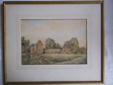 FRAMED WATERCOLOUR PAINTING A BEAUTIFUL WATERMILL AND HOUSES circa 1900