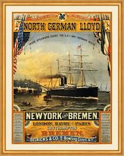 North German Lloyd New York Bremen London Havre Paris Dampfer Plakate A2 314