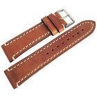 22mm Hirsch Liberty Mens Gold-Brown Tan Leather Contrast Stitch Watch Band Strap