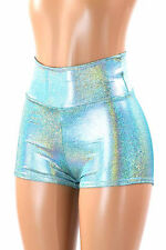 SMALL High Waist Seafoam Holographic Festival Rave Party Shorts Ready To Ship!