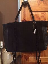 RIVER ISLAND BLACK SUEDE REAL LEATHER TASSEL SIDE TOTE HANDBAG
