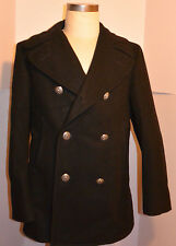 VINTAGE 1979 US NAVY HEAVY BLACK WOOL PEACOAT! METAL BUTTONS! USN! 38 SHORT