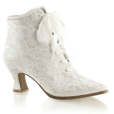 Ivory Off White Lace Bridal Vintage Victorian Wedding Shoes Kitten Heels 6 7 8 9