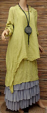 LAGENLOOK LINEN AMAZING LOVELY 2 PCS LONG TUNIC/DRESS+OVERTOP*OLIVE*SIZE M-L