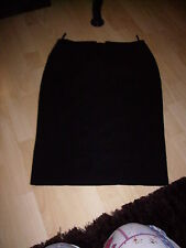black calf length pencil wiggle skirt deep waist with fake buttons size 12 VGC!