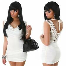 Womens Sexy Embellished V Back Cowl Neck Clubwear Party Mini Dress size 10 12