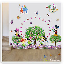 Mickey & minnie mouse wall stickers animal jungle nursery bébé chambre décalques art