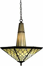 Stained Glass Chandelier  Ceiling Lamp Light Fixture Mission Craftsman Art Glass