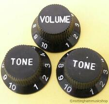 3 BLACK ELECTRIC GUITAR VOLUME+TONE KNOBS NEW ST CHEAP