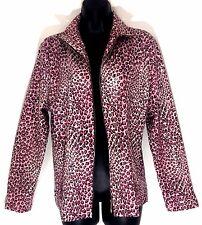 EXCLUSIVELY MISOOK S Jacket Pink black leopard print zip clear sequin paillette