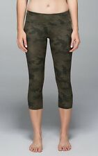 BNWT! Lululemon Wunder Under Crop in Green Camo Fullux Size 2 XS SOLD OUT!