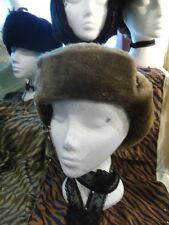 Unisex true Vintage golden brown Ushanka/Cossack/Trapper hats- faux fur. 58""