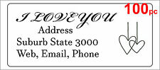 100 Personalised return address label mailing sticker 56x25mm wedding love heart